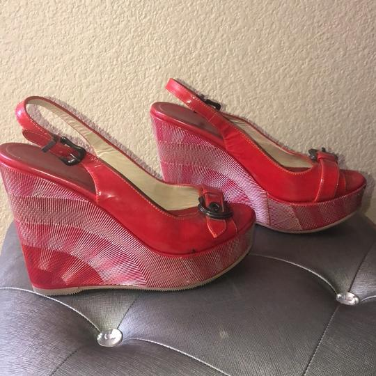 Fendi patent red Wedges