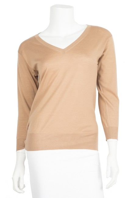 Preload https://item2.tradesy.com/images/prada-tan-knit-36-blouse-size-8-m-23338696-0-0.jpg?width=400&height=650