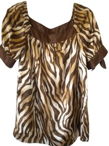 Allison Taylor Short Sleeve Top Brown/Tan