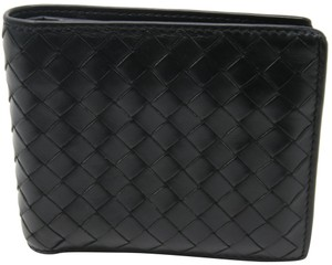 Bottega Veneta Black Lambskin Leather Intrecciato Woven Bi‑fold Wallet