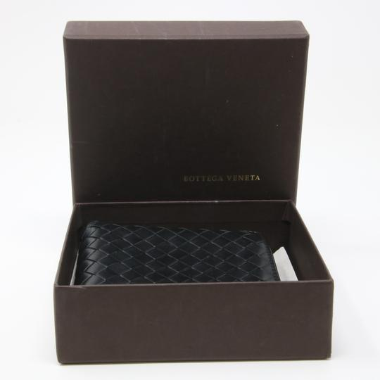 Bottega Veneta Black Lambskin Leather Intrecciato Woven Bifold Wallet