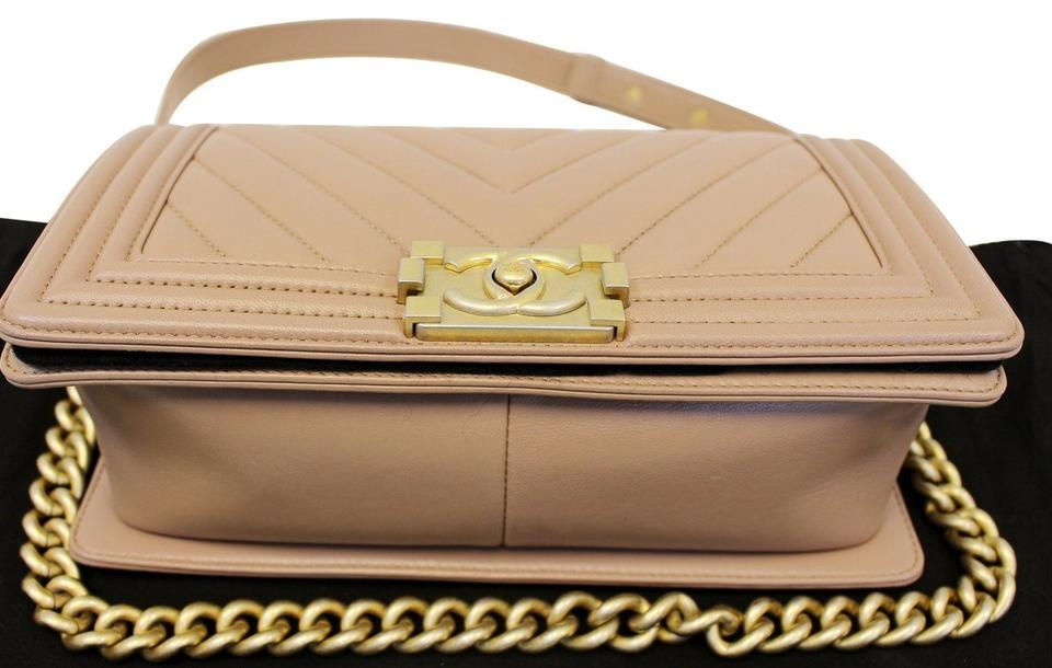 f5e923ad45a0 Chanel Classic Flap Boy Calfskin Chevron Quilted Dark Beige Medium ...