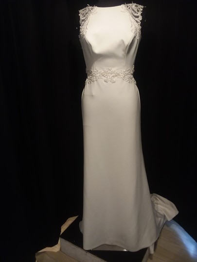 Maggie Sottero Ivory/Pewter Accent Crepe Ada Modern Wedding Dress Size 8 (M)
