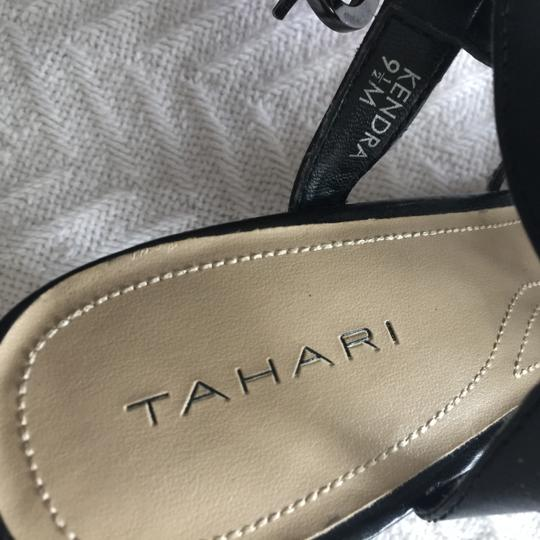 Tahari Leather Medallion Black Sandals