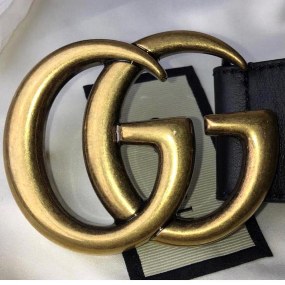 "c8912f0c65c Gucci Black Marmont 2018 Limited 100 40 1.5"" Double Gg Logo Buckle Leather  Gold Belt - Tradesy"