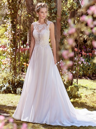 Maggie Sottero Ivory Over Soft Blush Lace Tulle and Organza Joyce Modern Wedding Dress Size 12 (L) Image 1