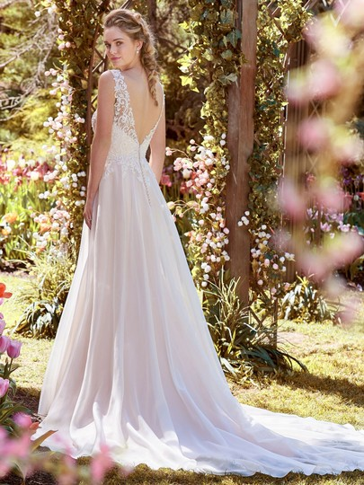 Maggie Sottero Ivory Over Soft Blush Lace Tulle and Organza Joyce Modern Wedding Dress Size 12 (L)
