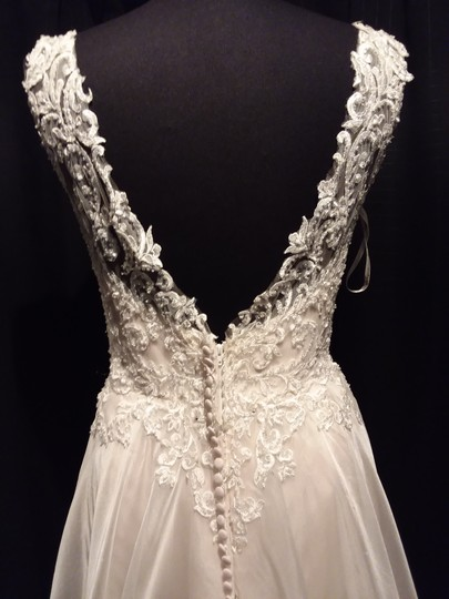 Maggie Sottero Ivory Over Soft Blush Lace Tulle and Organza Joyce Modern Wedding Dress Size 12 (L) Image 6