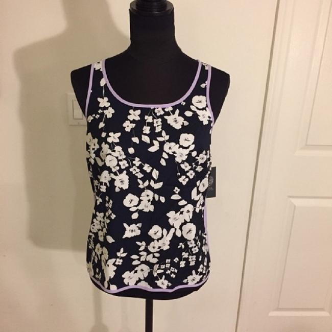 Vince Camuto Floral Blouse Sleeveless Color-blocking Top Blue / White Image 2