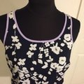 Vince Camuto Floral Blouse Sleeveless Color-blocking Top Blue / White Image 4