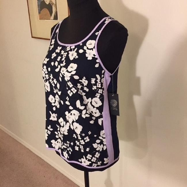 Vince Camuto Floral Blouse Sleeveless Color-blocking Top Blue / White Image 5