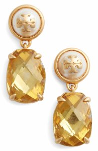 Tory Burch Tory Burch Faux Pearl Gold Crystal Drop Earrings Gold