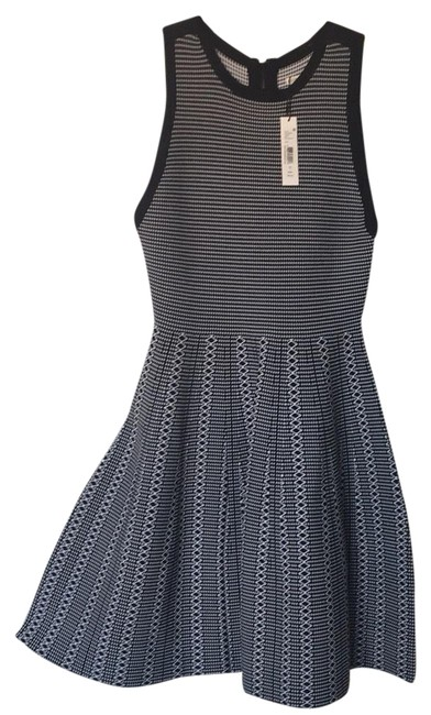 Alice + Olivia Black and White Kamila Fit Flare Mid-length Cocktail Dress Size 12 (L) Image 1