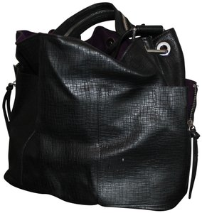 Zara Lined Textured Polyester Satchel in Black