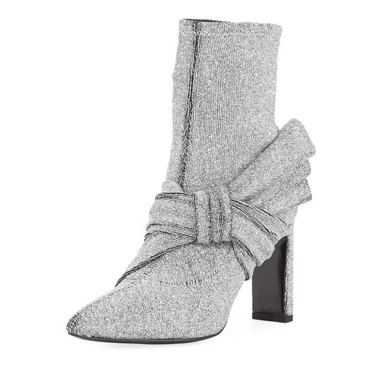 Sigerson Morrison Patent Patent Leather Ankle Night Out silver fabric Boots