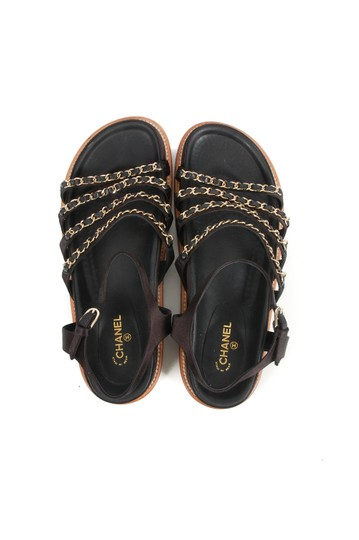 Chanel Leather Gold Black Sandals