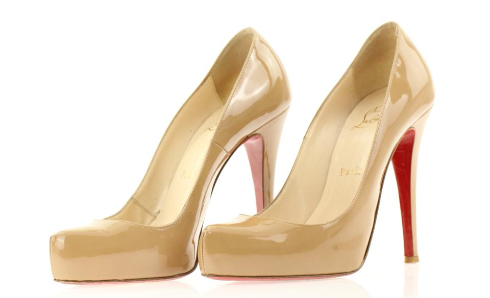 Christian Louboutin Gold Lace 554 Nude Sequin Stiletto