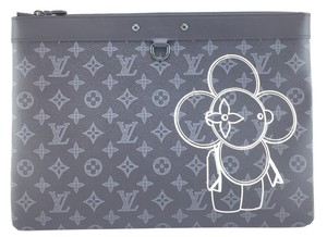 Louis Vuitton Lv Apollo Porfolio Monogram Black with Vivienne Front and back logo with black and green hardware Clutch
