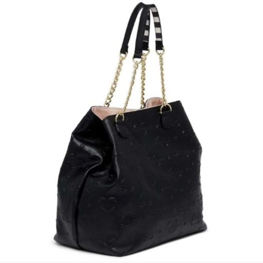 Betsey Johnson Extra Large Stripe Tote in black