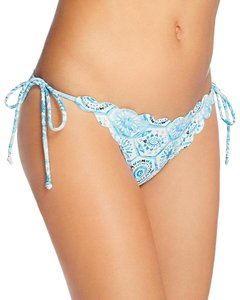 Lovers + Friends Lovers + Friends Womens Print Side Tie Swim Bikini Bottom, Blue, L