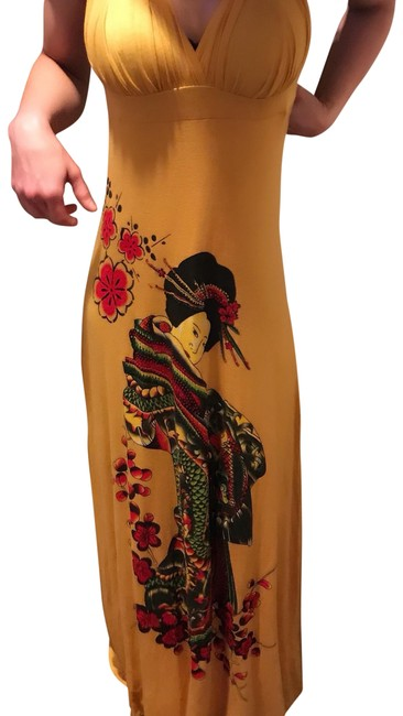 Preload https://item1.tradesy.com/images/gold-oriental-geisha-doll-long-casual-maxi-dress-size-12-l-23339100-0-1.jpg?width=400&height=650