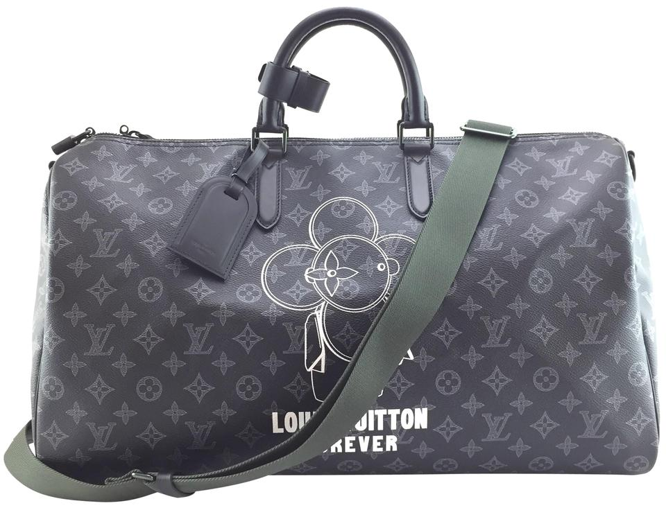 60d3f1eec2f6d Louis Vuitton Duffle Vivienne Keepall  18561 Extremely Rare Limited 2018 50  Bandouliere Monogram Black with Vivienne Front and Back Logo with Black and  ...