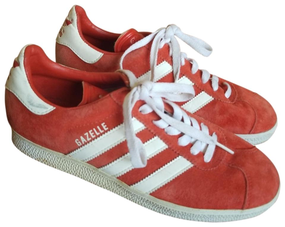 adidas Red and White Gazelle Sneakers Size US 7 Regular (M 89fd4b147a7b
