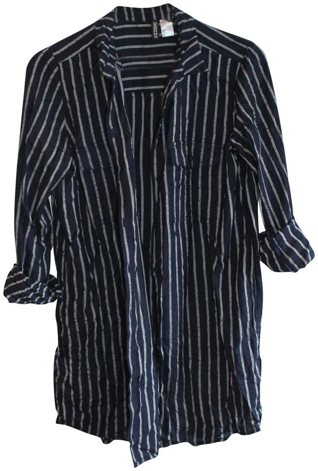 1e2a92708f Divided by H&M Vertical Stripes Comfortable Button Down Shirt Navy and  White Image 0 ...