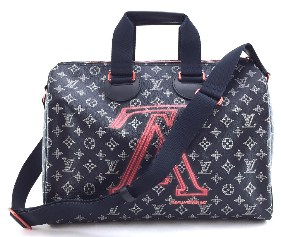 Louis Vuitton Duffle Speedy  18563 Extremely Rare Limited 2018 40 Bandouliere  Monogram Ink Dark Blue Eclipse with Pinkish Orange Upside Down Logo with  Black ... a3a14b7ceebfb
