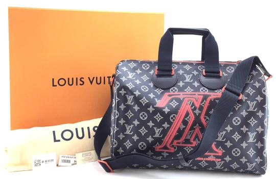 Louis Vuitton Runway 2018 Celebrity Duffel Monogram Ink Dark Blue Eclipse with Pinkish Orange Upside Down logo with black and Pink-ish orange hardware Travel Bag
