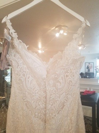 Maggie Sottero Ivory/Pewter Accent Lace and Crepe Kiandra Modern Wedding Dress Size 10 (M)