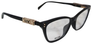 Moschino NEW Moschino MOS500 Black Cat Eye Logo Gold Metal Eyeglasses Frames