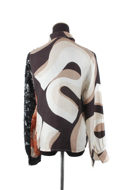 Dries van Noten Sequin Silk Pattern Top Multi-Color