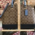 Coach Handbag Wallet Set Alma Sierra Monogram Satchel in khaki/Midnight pool Image 5
