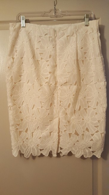 Ann Taylor Flowers Lace Skirt Cream Image 1