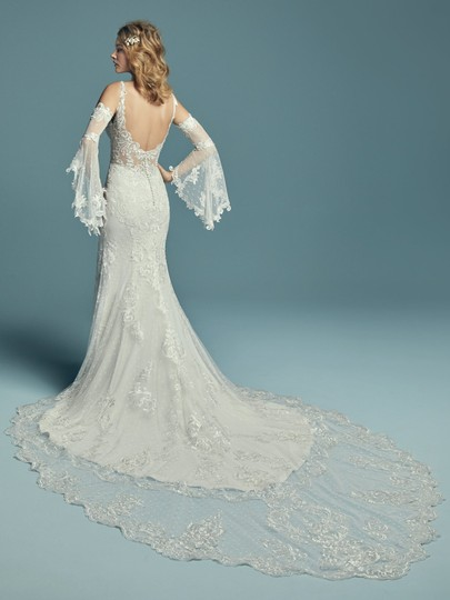 Maggie Sottero Ivory Over Pearl Lace Lucienne Modern Wedding Dress Size 10 (M)