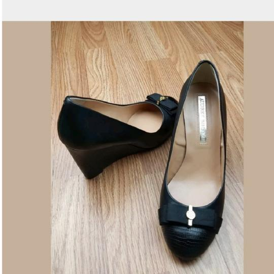 Preload https://img-static.tradesy.com/item/23339349/audrey-brooke-black-leather-bow-top-open-toe-pump-wedges-size-us-8-regular-m-b-0-4-540-540.jpg