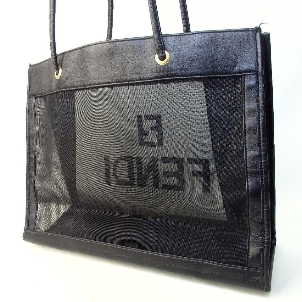 3d74a46220 Fendi Ff Logo See Through Tote Black Nylon Mesh with Leather Hobo ...