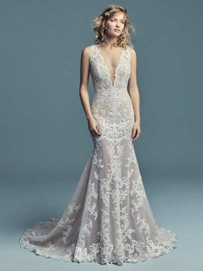 Maggie Sottero Ivory Over Nude Lace Hailey Marie Modern Wedding Dress Size 12 (L)