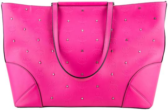 Preload https://img-static.tradesy.com/item/23339394/mcm-studded-claudia-pink-coated-canvas-tote-0-1-540-540.jpg