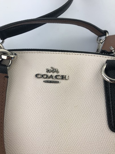 Coach Leather Satchel in Ivory/Brown/Black