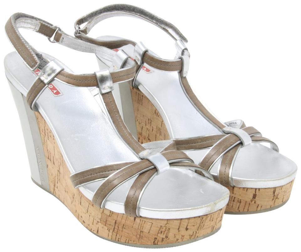 Sport Prada Metallic Platform Silver Trim Cork Leather Sandals gYb7yf6v