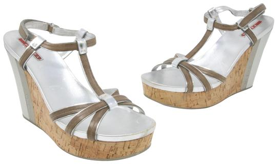 Prada Spring Summer Sport Canvas Party Silver Wedges Image 1
