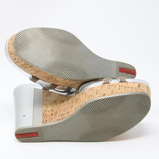 Prada Spring Summer Sport Canvas Party Silver Wedges Image 10
