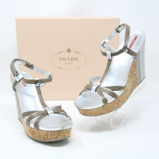 Prada Spring Summer Sport Canvas Party Silver Wedges Image 2