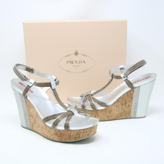 Prada Spring Summer Sport Canvas Party Silver Wedges Image 3