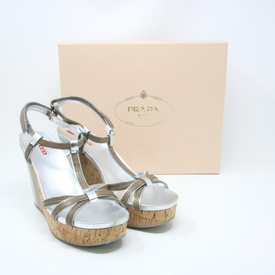 Prada Spring Summer Sport Canvas Party Silver Wedges Image 4