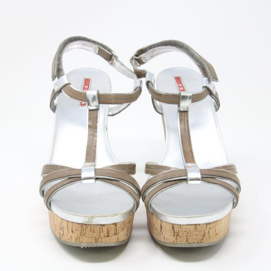 Prada Spring Summer Sport Canvas Party Silver Wedges Image 5