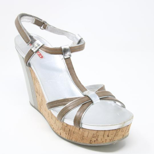 Prada Spring Summer Sport Canvas Party Silver Wedges Image 6
