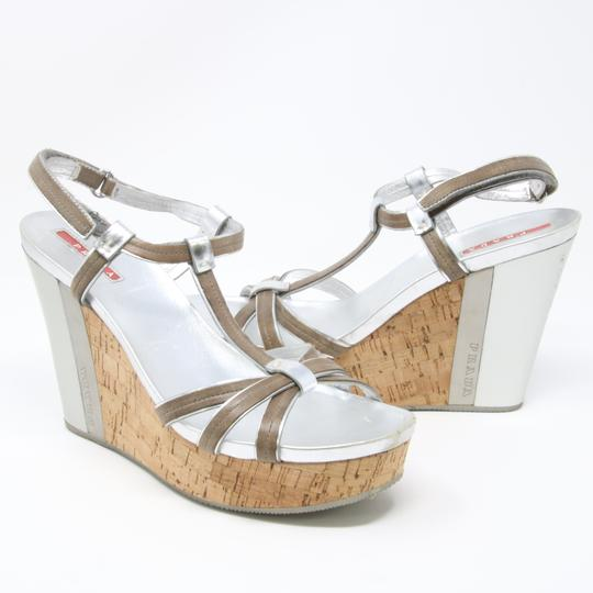 Prada Spring Summer Sport Canvas Party Silver Wedges Image 8